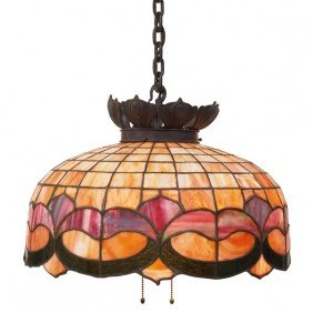 Arts And Crafts Hanging Fixture, Leaded Glass Shade