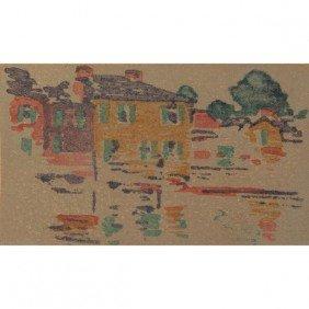"Arthur Wesley Dow Woodblock Print, ""River Reflection"
