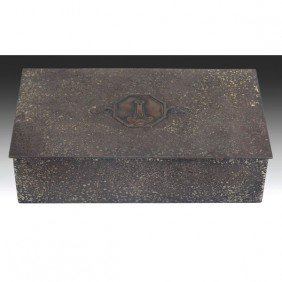 Silver Crest Box, In Sterling Decorated Bronze, Sig