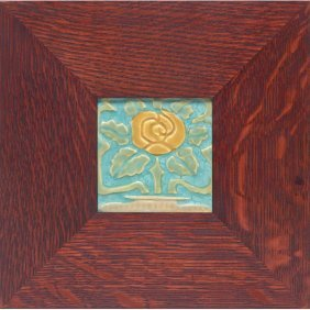 Good Rookwood Faience Tile, Stylized Rose