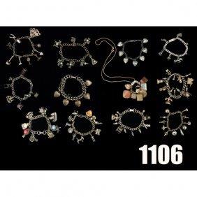 Vintage Charm Bracelets, Lot Of Twelve, Hearts, C