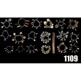 Vintage Charm Bracelets, Lot Of 19, All Metal Wit