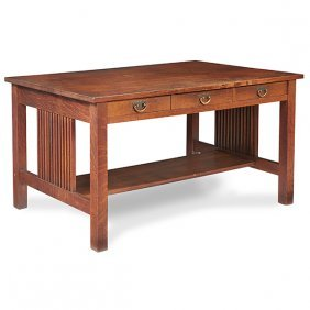 """Gustav Stickley Spindle Library Table, #659 54""""w X 32""""d"""