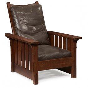 """Gustav Stickley Morris Chair, #332 31""""w X 38""""d X 40""""h"""