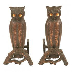 "Arts & Crafts Period Owl Andirons 11""w X 21""d X 21""h"