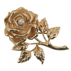 "Tiffany & Co. Rose Brooch 1""w X 1 3/8""h"