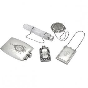 Various American Makers Five Articles: Gorham Flask Or