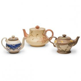 James Macintyre & Co. Gesso Faience Teapots, Two