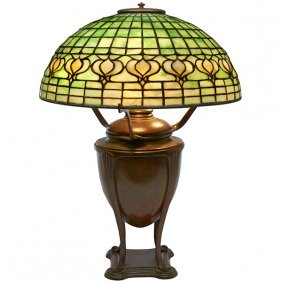 Tiffany Studios Geometric Table Lamp, Shade #1457-56,