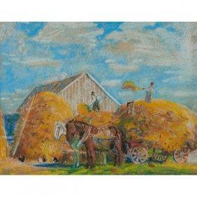 Albert Krehbiel, (american, 1873-1945), Hay Workers,