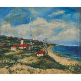 Milton Wright, (american, 1920-2005), Beach Scene,