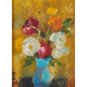 Le Pho, (french/vietnamese, 1907-2001), Flowers, Oil On