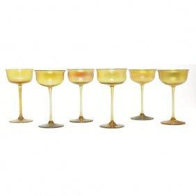 L.C. Tiffany Glasses, Set Of Six, Gold Favrile