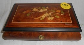 Vintage Lacquered Inlaid Jewelry Music Box By Sorrento