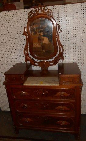 Antique Victorian Dresser With Shave Mirror