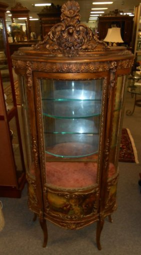 Antique French Painted Curio Cabinet