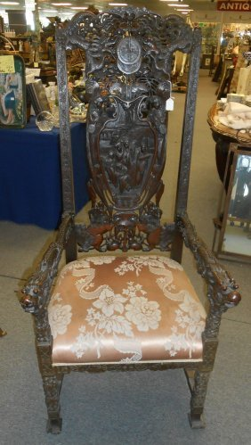 Antique Carved Oriental Throne Chair