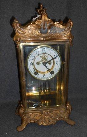 Vintage Bronze Regulator Empire Mantle Clock