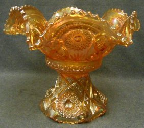 Vintage Imperial Marigold Carnival Glass Punch Bowl