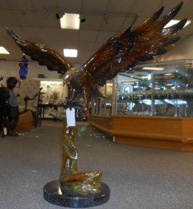 Bronze Eagle On Marble Base