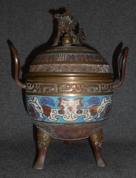 Vintage Bronze & Cloisonne Incense Burner