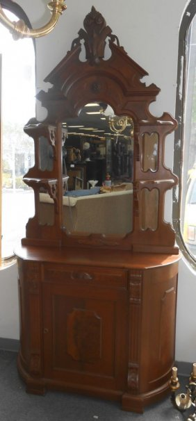 Antique Victorian Cupboard With Mirror