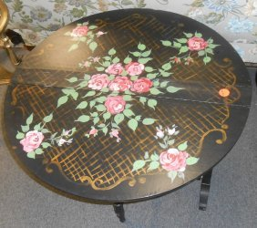 Antique Hand Painted Drop Leaf Table