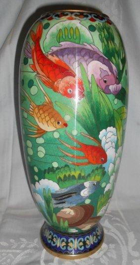 "12"" Cloisonne Vase With Koi Fish"
