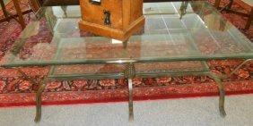 Contemporary Glass And Iron Coffee Table