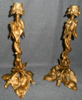 Vintage Pair (2) Of Cast Metal Candlesticks
