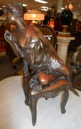 Bronze Sculpture Of A Seated Lady