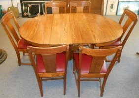 Antique Empire Oak Dining Table And 6 Chairs