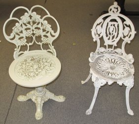 2 Vintage Cast Iron Patio Chairs