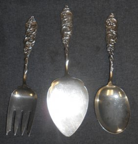 Set Of 3 Sterling Silver Serving Pieces By Alvin