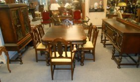Antique Limberts English Tudor Style Dining Table