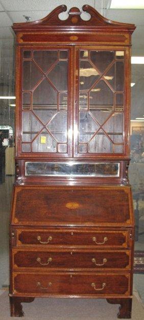Antique Inlaid Mahogany Secretary Bookcase