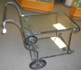 Vintage Wrought Iron & Glass Tea Cart