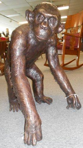 Life Size Bronze Chimpanzee