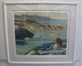 Large Framed Howard Behrens Serigraph