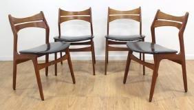 4 Danish Modern Teak Side Chairs