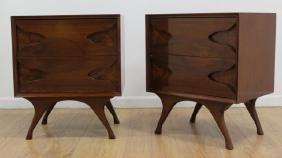 Pair 50s American Mahogany & Burlwood Night Tables