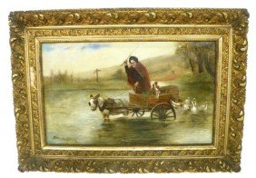 19thc European Landscape, Wagon Oil Painting