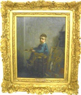 Theodore Ribot Seated Boy Oil Painting