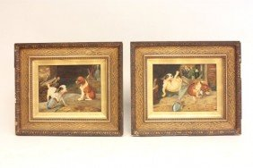 T.E. Ragg Pair Humorous Dog Scenes Oil Paintings