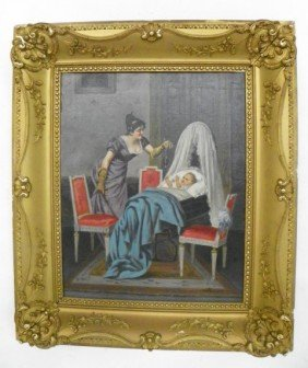 Luca Sacco Mother And Child Oil Painting