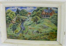 Peggy Dodds Folky Landscape Pastel Painting