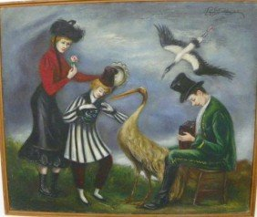 Peggy Dodds People Dancing Oil Painting