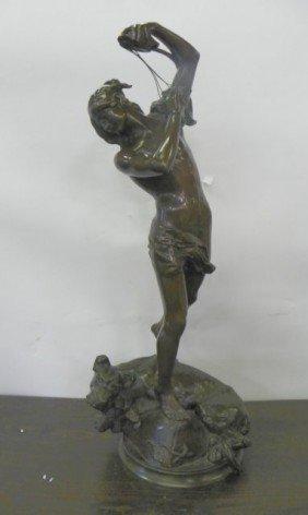 Henri Peinte Bronze Sculpture Man With Dog
