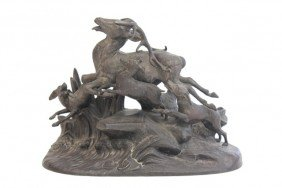 19/20thc Animalier Sculpture Dogs And Stag