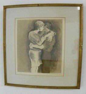 "Raphael Soyer ""Embrace"" Etching/aquatint"